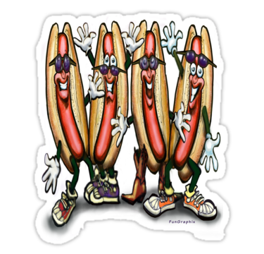 Sausage clipart weiner roast. Stickers by kevin middleton