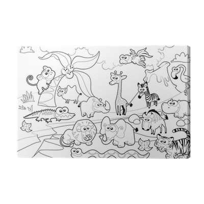 Animal family with background. Savannah drawing coloring clip art transparent download