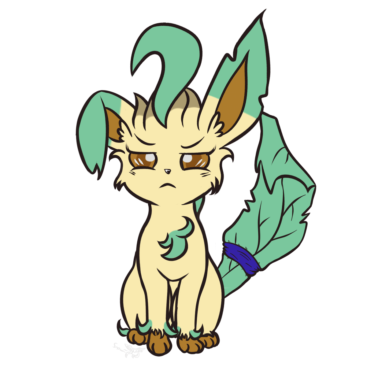 Savannah drawing figure. The leafeon by snow