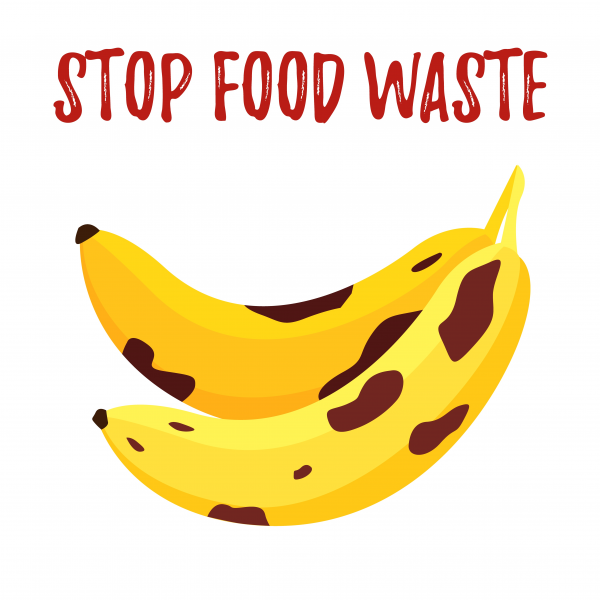 Save food vector banner of speckled rotten banana isolated on white. Fight waste card
