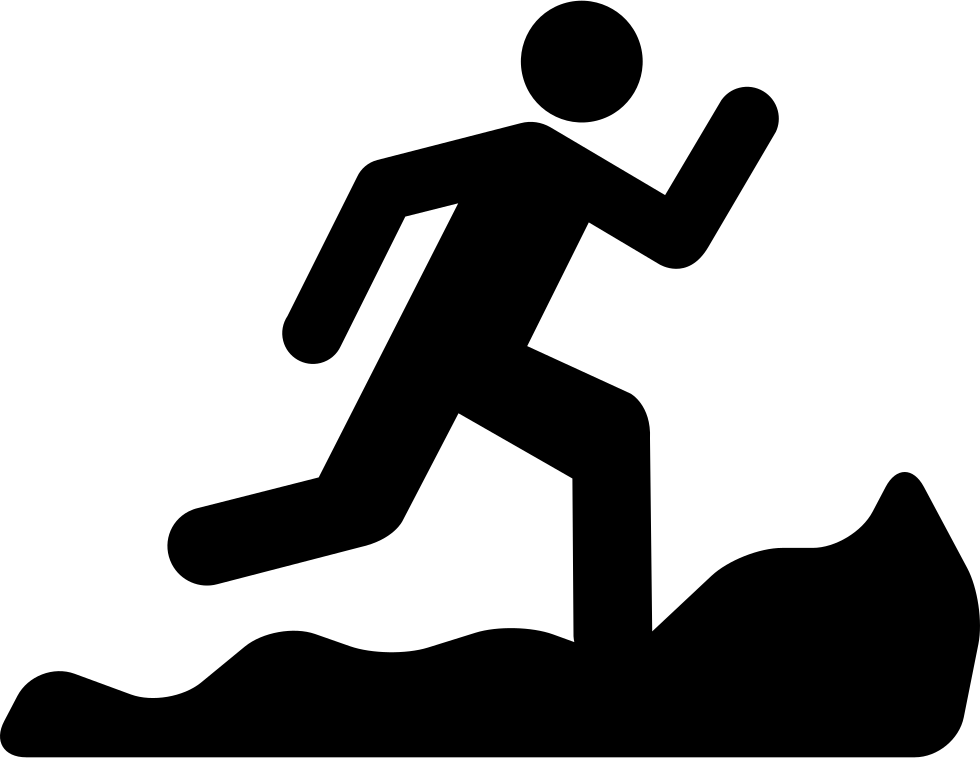 Save silhouette file as png. Mountain running svg icon