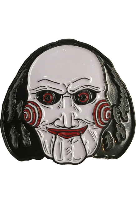 Saw doll png. Billy puppet enamel pin