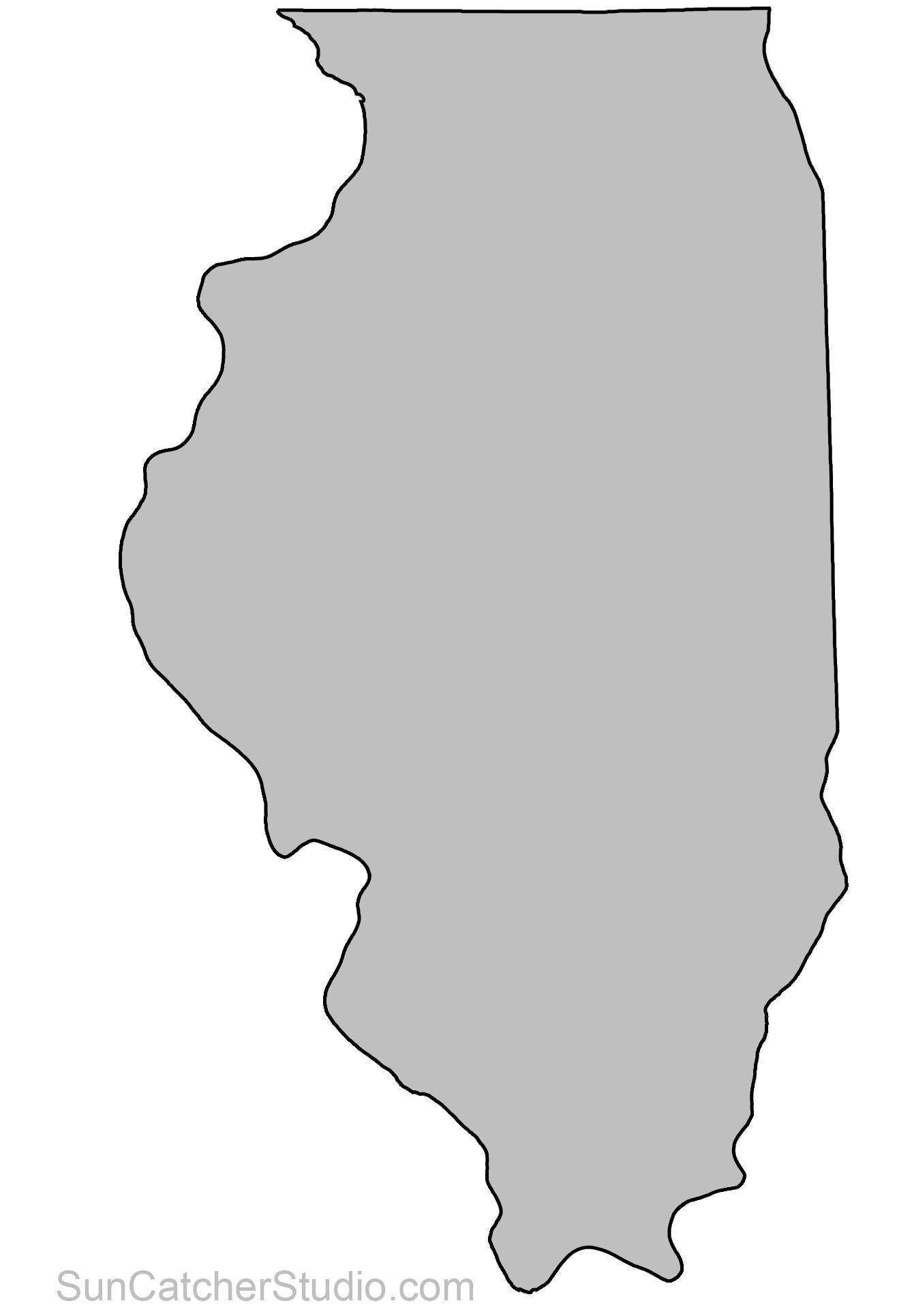 Illinois outline png. State outlines maps stencils