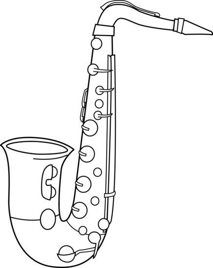Saxaphone drawing band instrument. Black and white saxophone