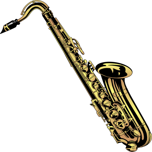 Saxaphone drawing blues instrument. Learn to play the
