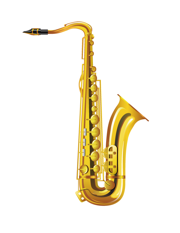 Saxaphone drawing musical instrument. Alto saxophone gold
