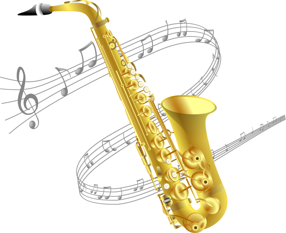 Baritone saxophone musical instruments. Saxaphone drawing banner download