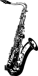 Saxaphone drawing outline. Saxophone music clip art