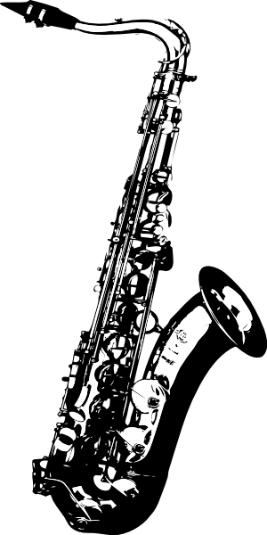 Saxaphone drawing tattoo. Saxophone music clip art