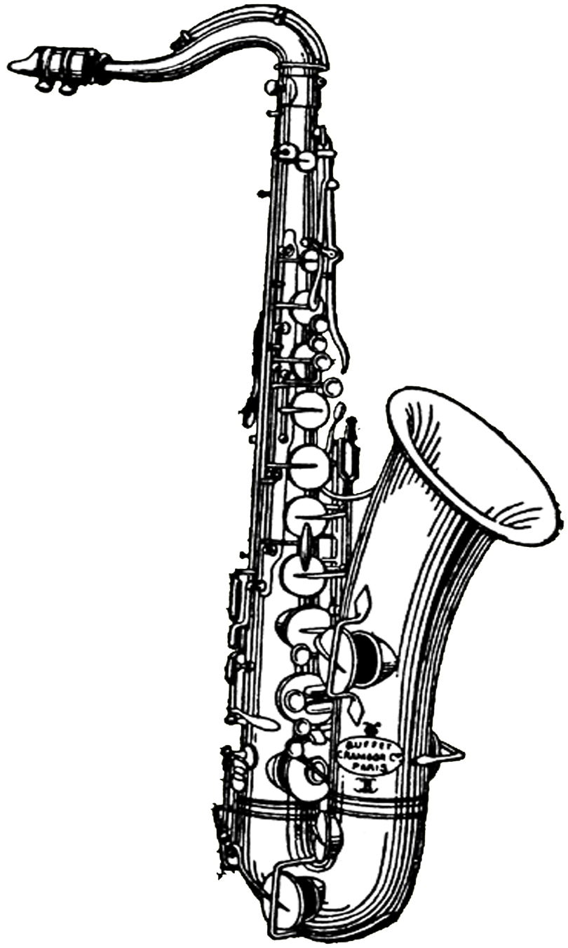Free digital stamps vintage. Saxaphone drawing banner freeuse download