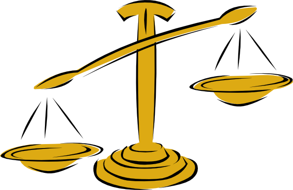 Transparent scales unbalanced. Free of justice clipart