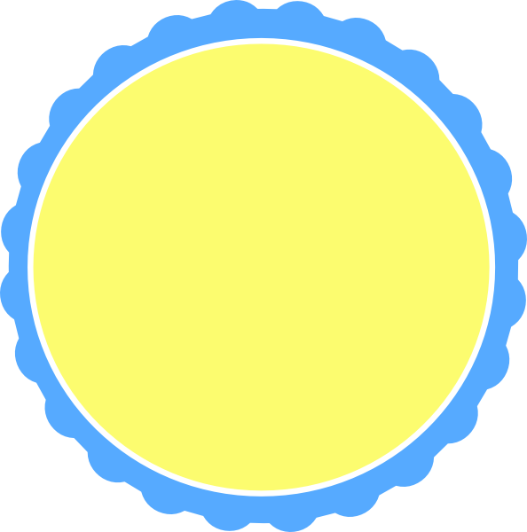 Scallop frame png. Blue yellow circle clip