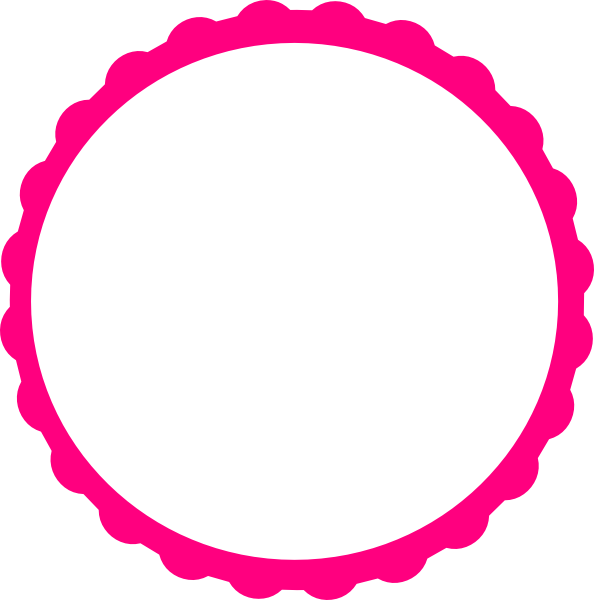 Scalloped circle png. Pink scallop frame clip
