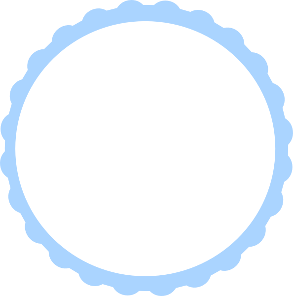 Scalloped circle png. Teal scallop frame clip