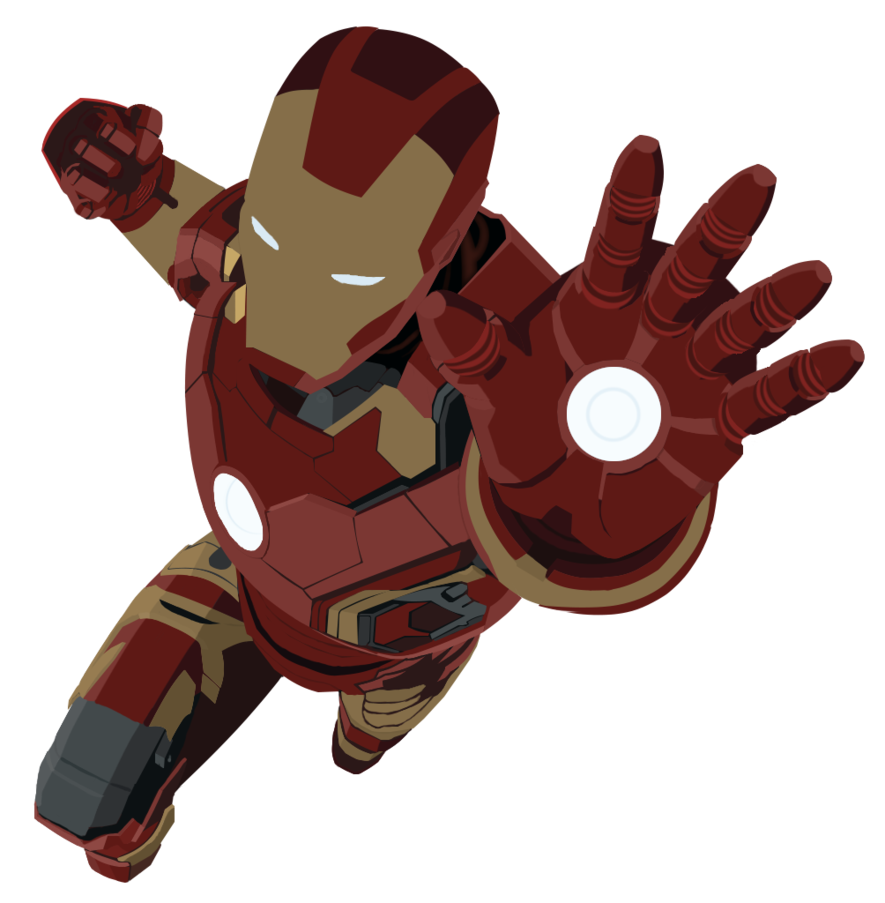 Scanned drawing iron man. Flat style by discoverygamesbr