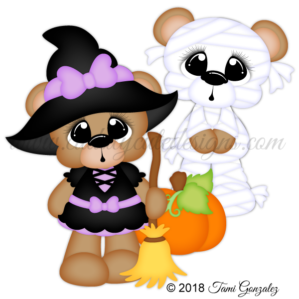 Scare clip design. Bears witch mummy holiday