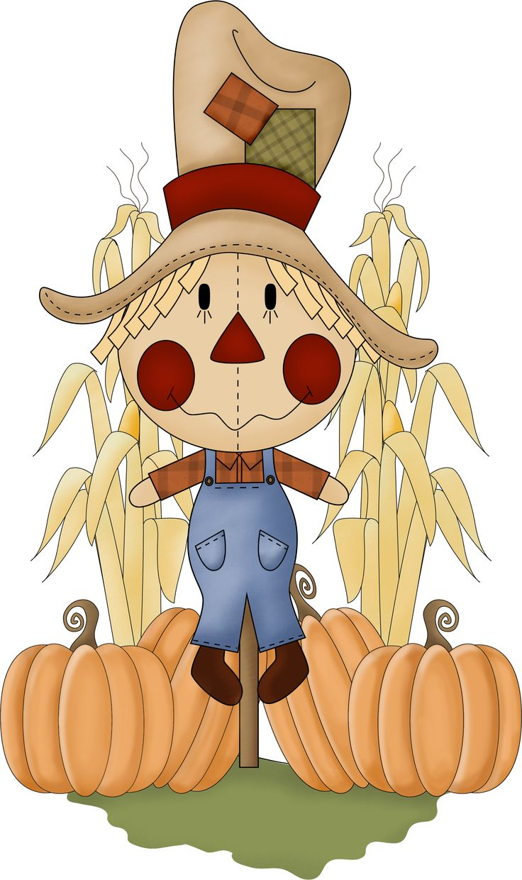 Scarecrow clipart colored. November pencil and in