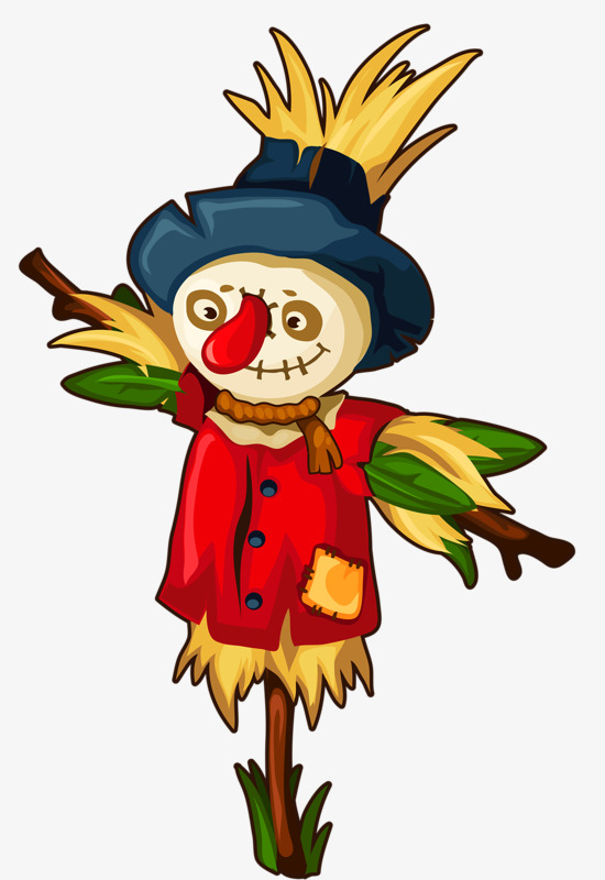 Scarecrow clipart colored. Clown hand painted animation