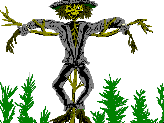 Scarecrow vector scary. Clip black and