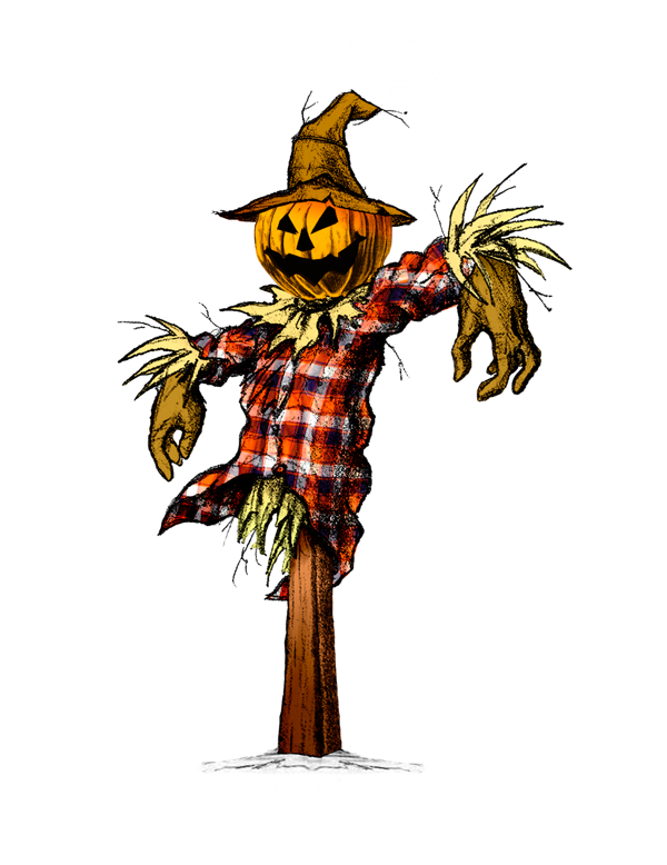 Creepy scarecrows scary drawings. Scarecrow transparent colored picture stock