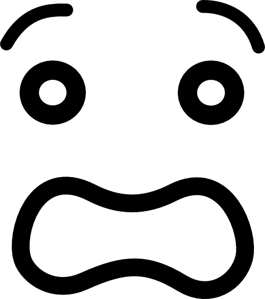 Drawing scary anxiety. Worried face clip art