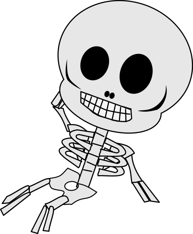Transparent bone cartoon. Human skeleton animation art