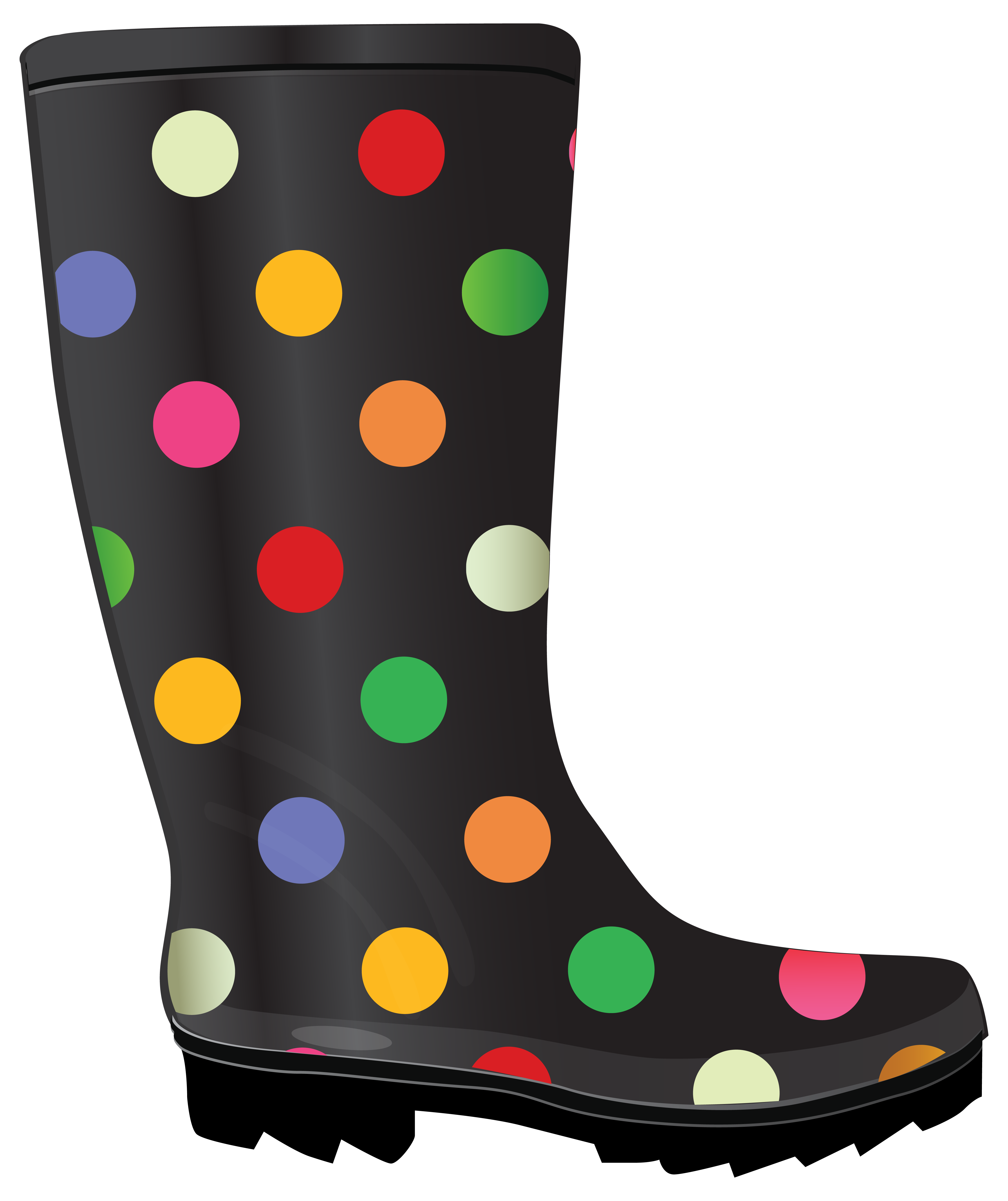 Transparent boot cute rain. Dotted rubber boots and
