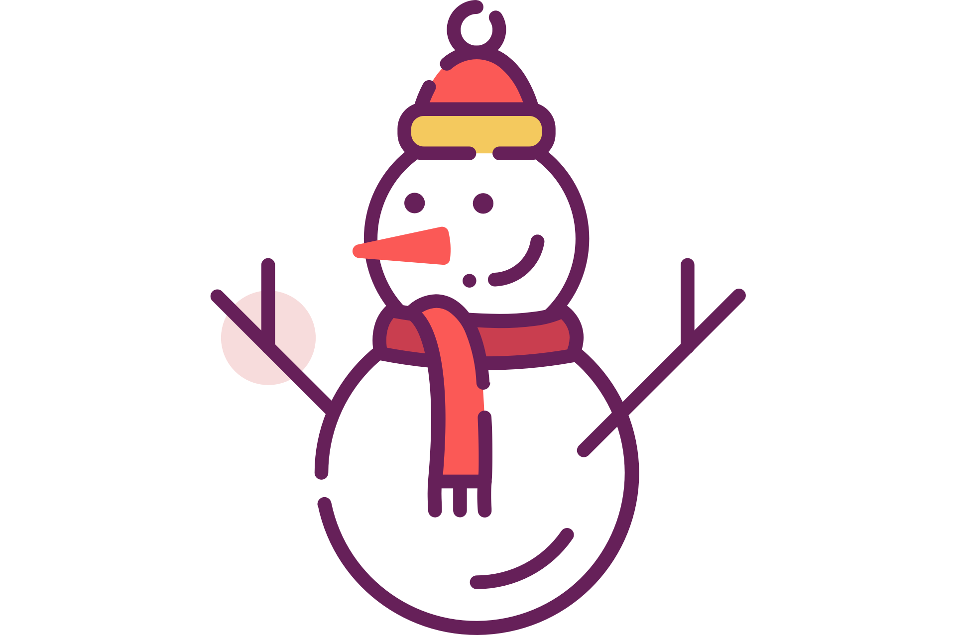 Vector snowman scarf. With hat and free