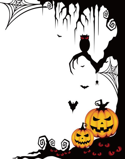 Scary border png. Halloween spooky frame ftestickers