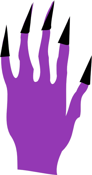 Scary clipart hand. Halloween with black nails