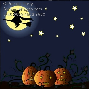 Scary clipart scary pumpkin patch. Clip art illustration of