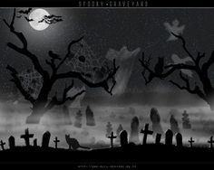 Scary clipart spooky cemetery. Pin graveyard tattoos software