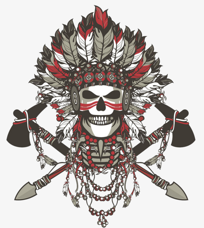 Indian skull feather png. Scary clipart t shirt printing library
