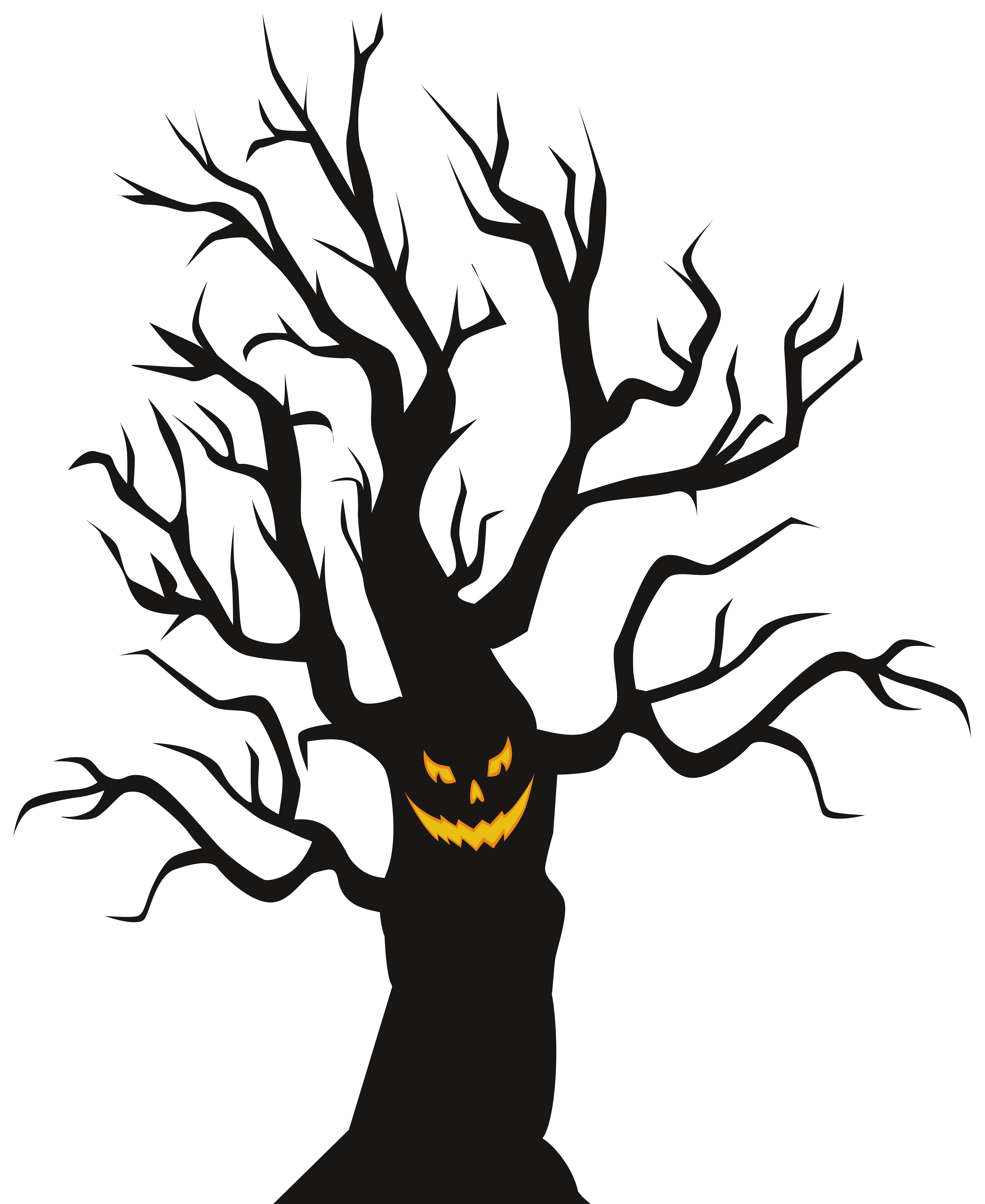 Scary halloween png. Tree clip art image