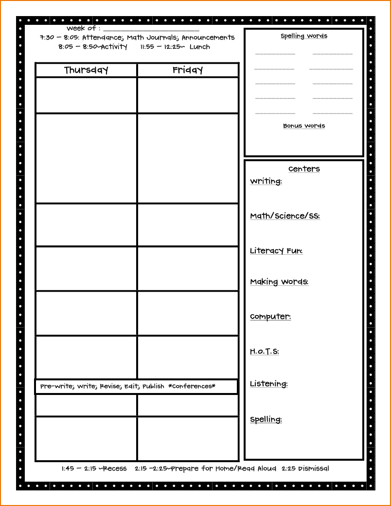 Schedule clipart lesson plan. Free template teknoswitch
