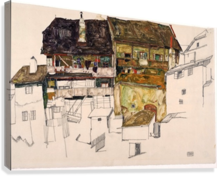 Schiele drawing. Egon old houses in
