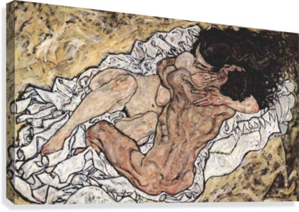 The embrace egon canvas. Schiele drawing sister banner library stock