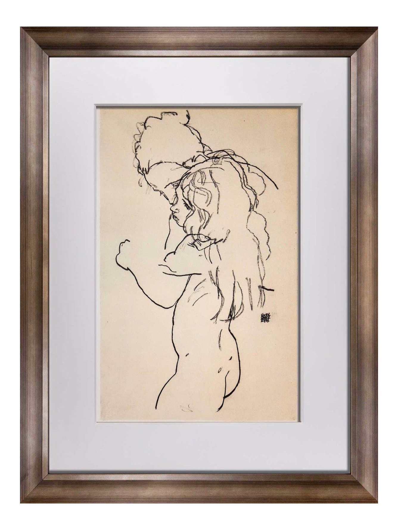 Schiele drawing. Egon lithograph mother and banner library stock