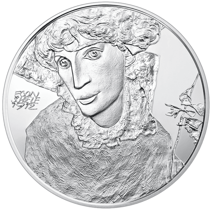 Egon euro silver coin. Schiele drawing sister picture black and white stock