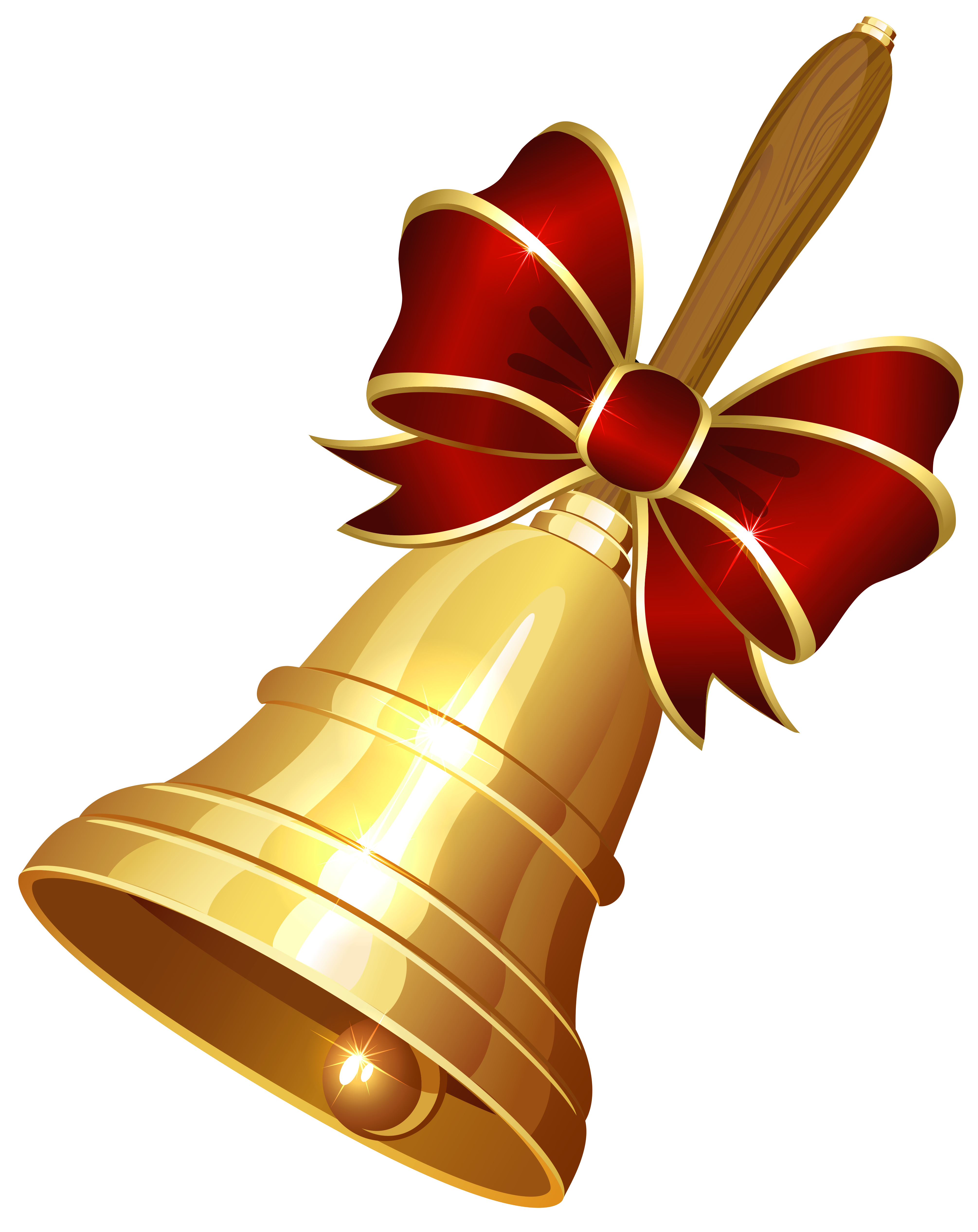School bell png no background. With red ribbon clipart
