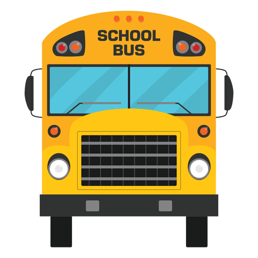 School cartoon png. Flat illustrated bus silhouette
