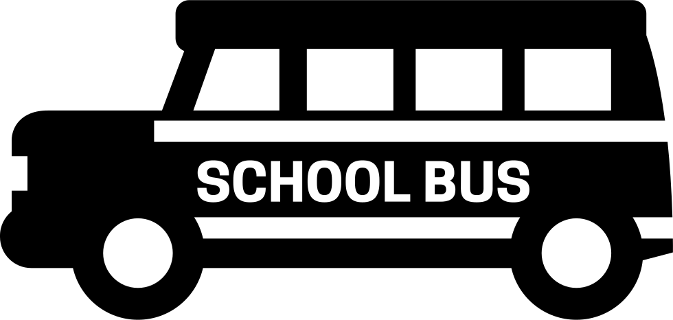School bus png black and white
