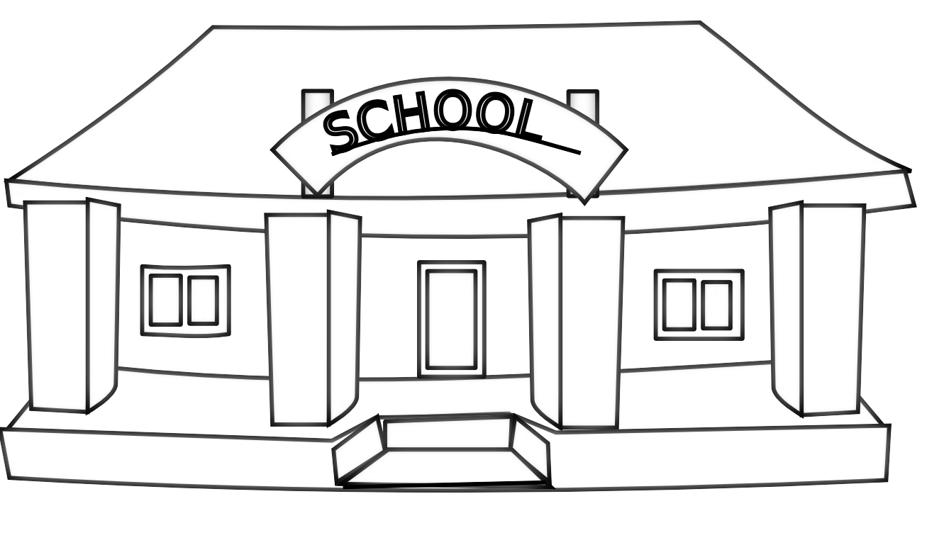 School clip building. Black and white clipart