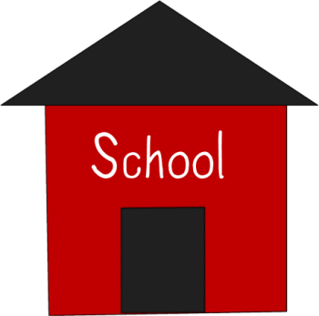 School clip simple. Red house art image