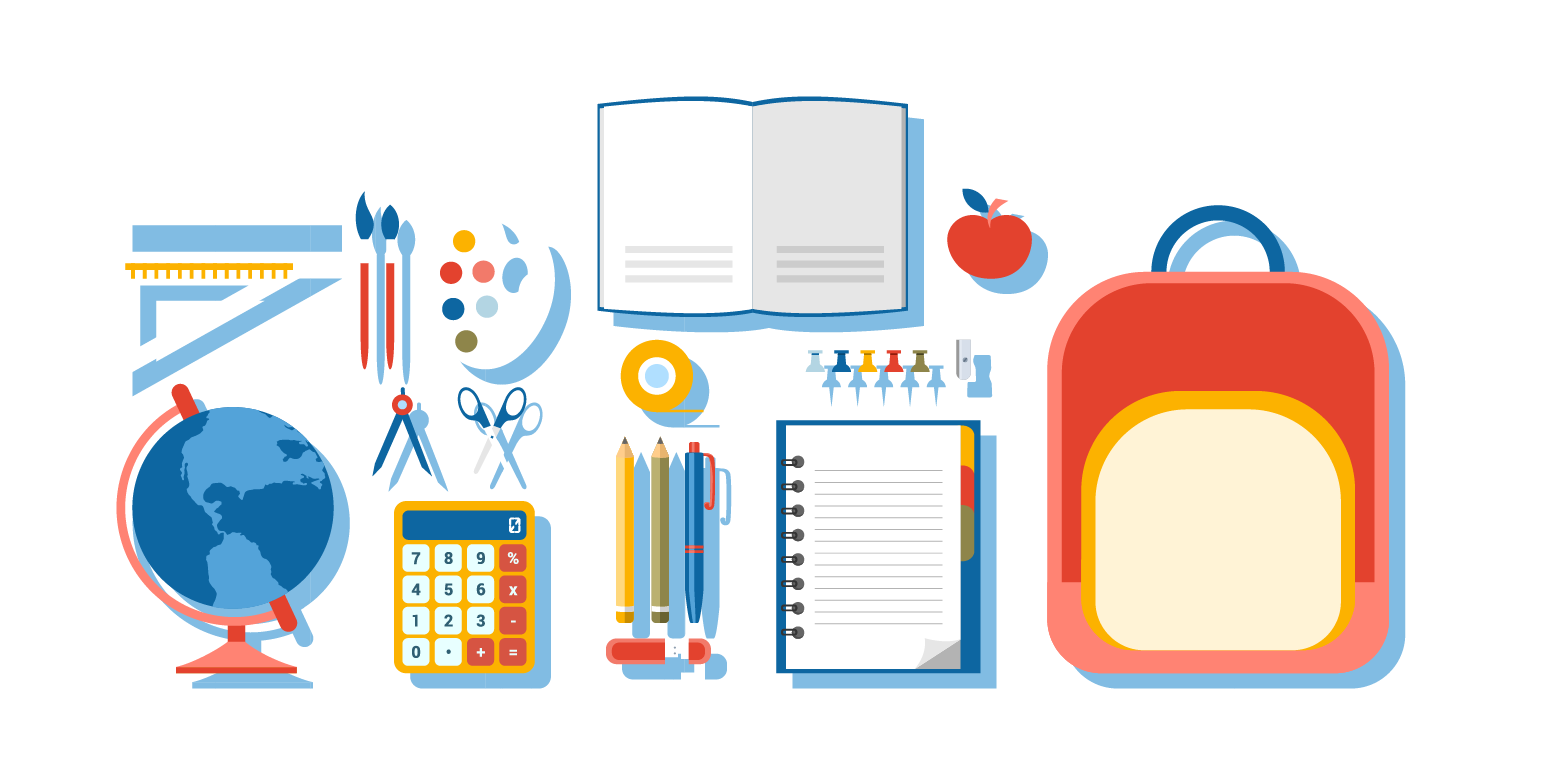 School tools png. Supplies royalty free illustration