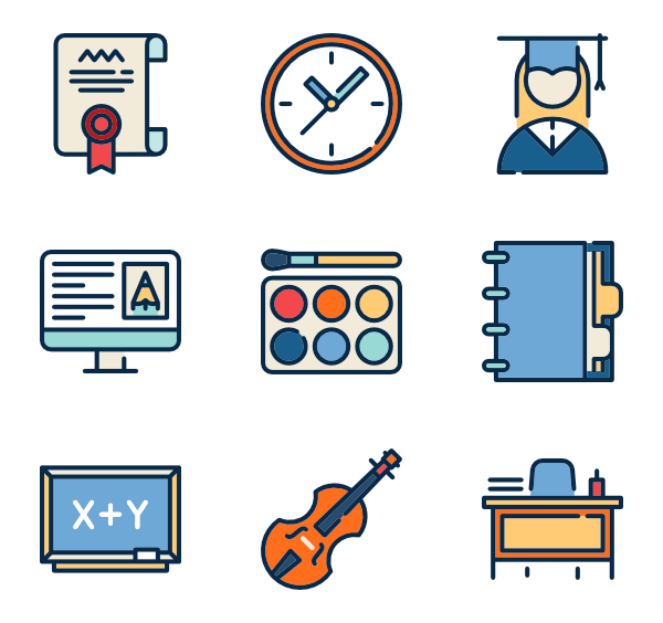 Industrial vector city. School icon packs