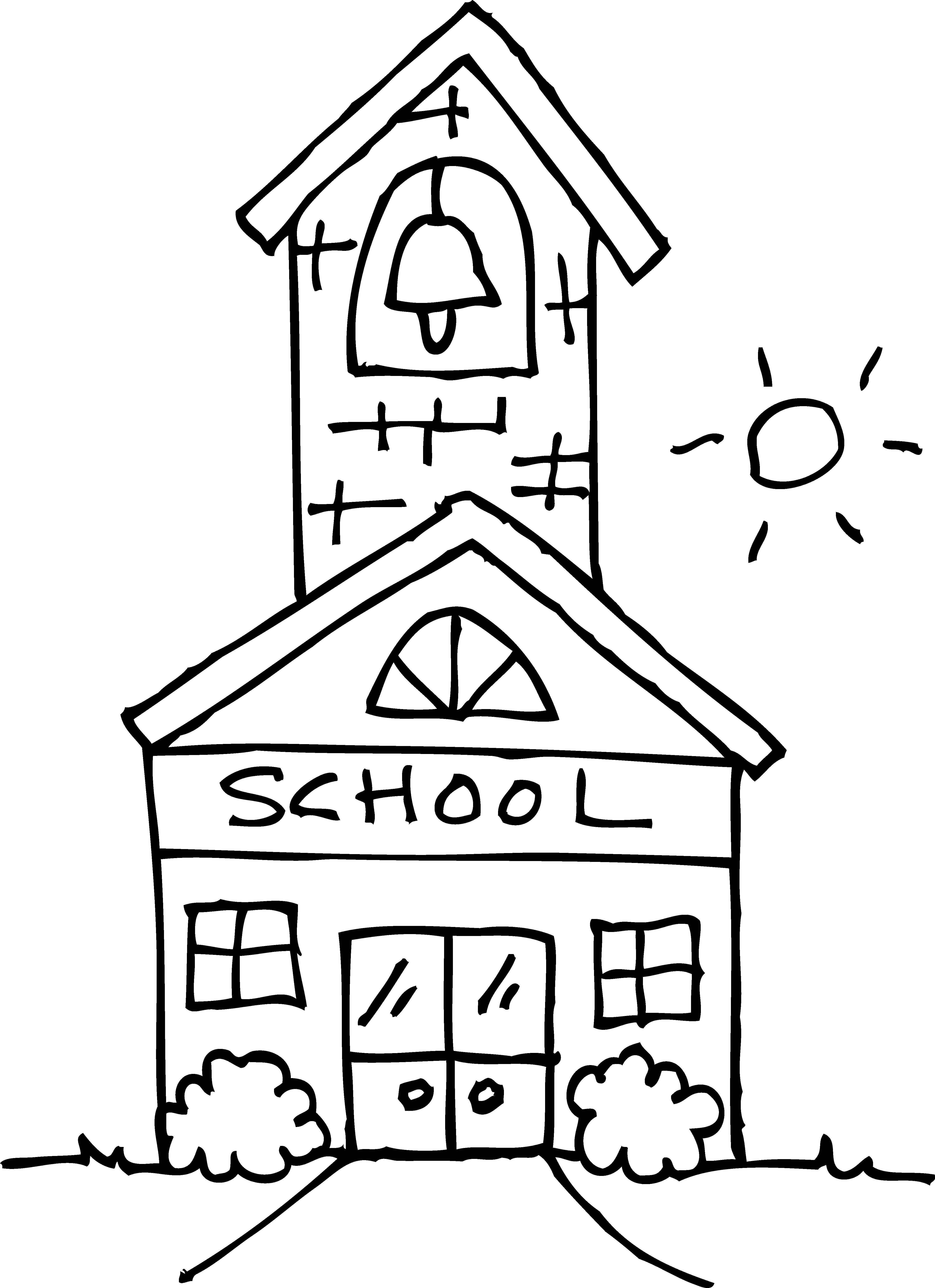 Schoolhouse clipart education. Cute coloring page free