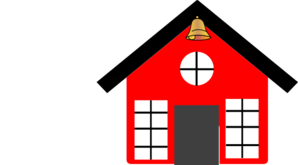 Schoolhouse vector clip art. Red school house with