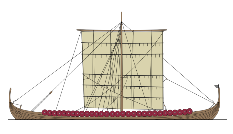Schooner drawing army ship. Longship facts for kids
