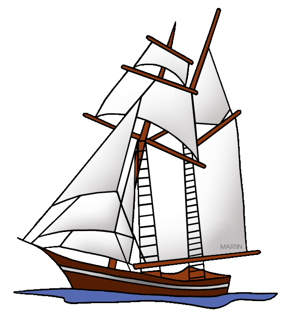 Schooner drawing art. Inventors and inventions clip